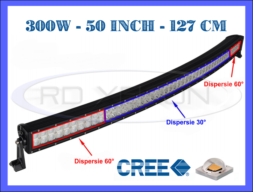 proiector led cree curbat combo beam 127 cm 300w 12v 24v offroad suv utilaje universal zdm. Black Bedroom Furniture Sets. Home Design Ideas
